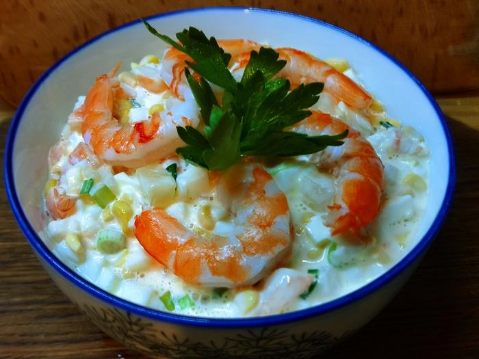салат с креветками - результат